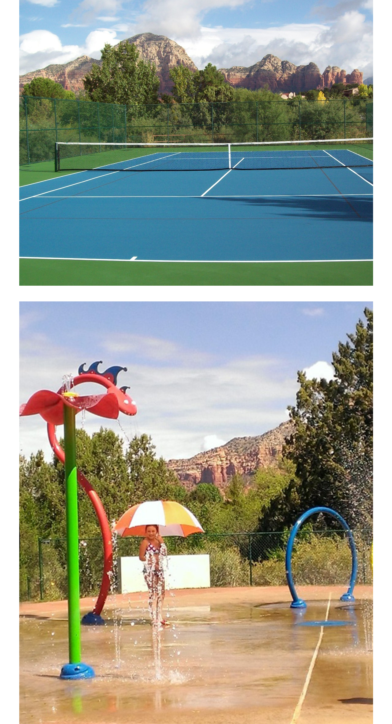 Sunset Park composite showing tennis court and splash pad.