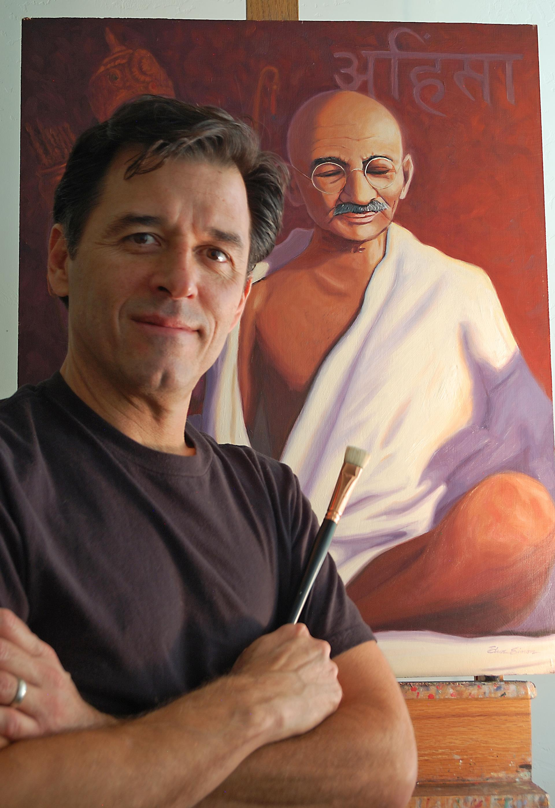 Steve Simon portrait with Ghandi.jpeg